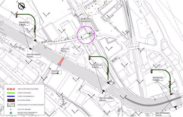 Plano de la obra en la N634 a su paso por Burtzeña