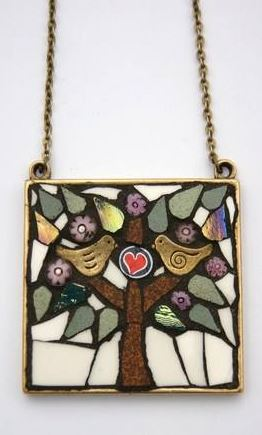 Hand cut mosaic jewelry by angela ibbs designs the beading gems her distinctive style of assembling mosaics and combining them with other materials is refreshingly different it shows her talent for picking just the aloadofball Choice Image