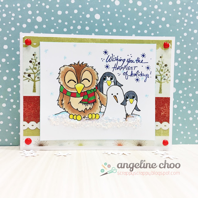 ScrappyScrappy: Merry Christmas Snowman Penguin and Brentwood Owl - JLO Stamps #scrappyscrappy #jessicalynnoriginal #jlostamps #christmas #brentwoodowl #card #cardmaking #snowman #penguin