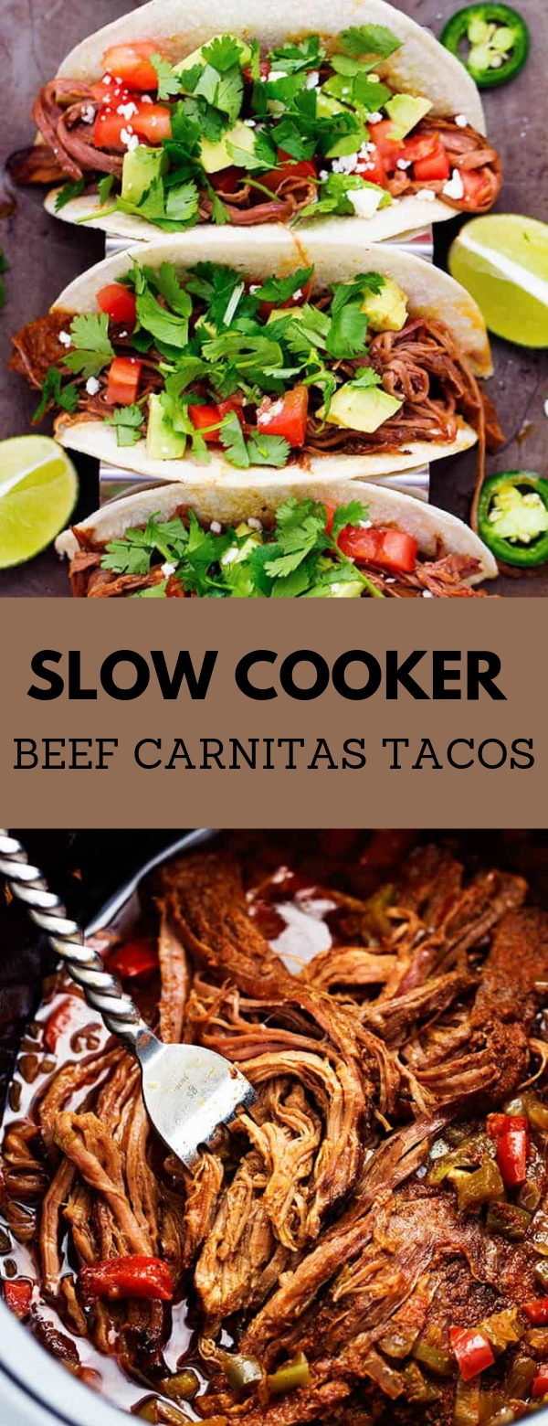SLOW COOKER BEEF CARNITAS TACOS #slowcooker #beef #maincourse #tacos