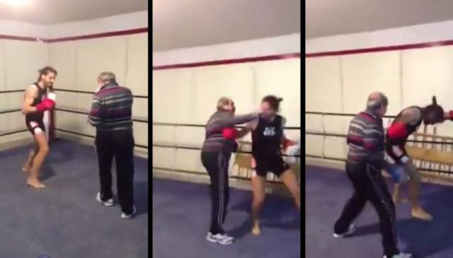 Abuelo le proporciona golpiza en el ring a boxeador joven