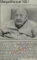 Margarita Van Eeghem, gevierd als honderdjarige