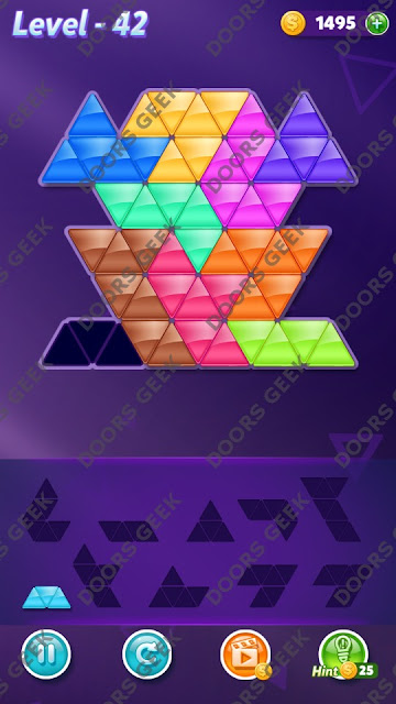 Block! Triangle Puzzle Master Level 42 Solution, Cheats, Walkthrough for Android, iPhone, iPad and iPod