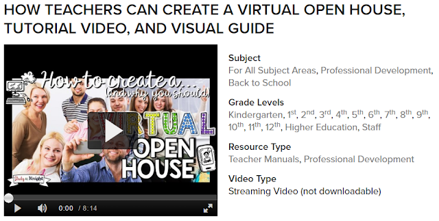 Video PD: Teachers hosting a successful open house means teacher-parent communication.You can easily create a Virtual Back to School Night. Learn some tips on how to foster a positive relationship with parents and host a successful meet the teacher night. New teachers will find this professional development resource helpful. All subjects. Administrators will love this! Grade 1, grade 2, grade 3, grade 4, grade 5, grade 6, grade 7, grade 8, grade 9, grade 10, grade 11, grade 12