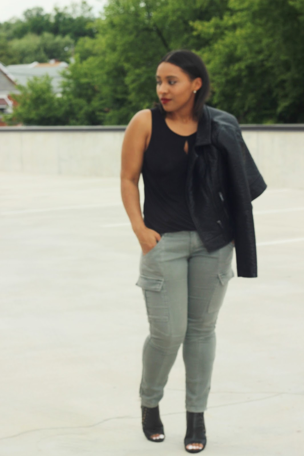 fall, motto jacket, booties, fall outfits, cargo pants