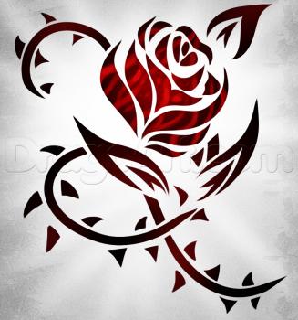 Como Dibujar Una Rosa Tribal Para Tatuaje Guia Dibujo