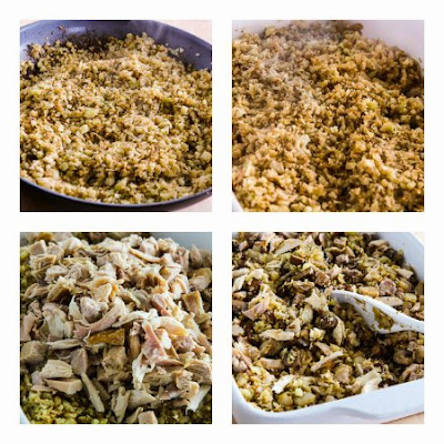 Low-Carb Turkey Casserole with Mushrooms, Mozzarella, and Cauliflower Rice (Gluten-Free) found on KalynsKitchen.com