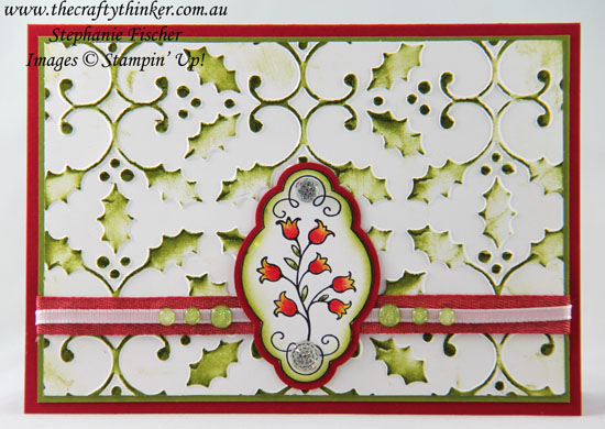 Christmas Bush, #cardmaking, #stampinup, #christmascard, Christmas Card, Hello Color, Holly Embossing Folder, #thecraftythinker, Stampin' Up Australia Demonstrator, Stephanie Fischer, Sydney NSW