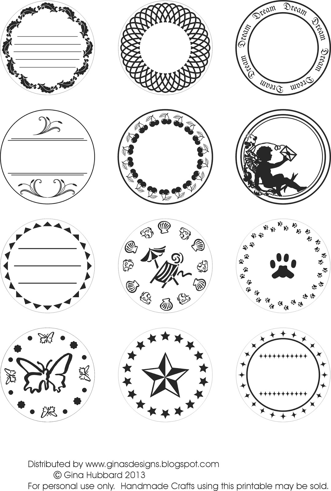 Ginas Designs Freebie Friday Circular Labels