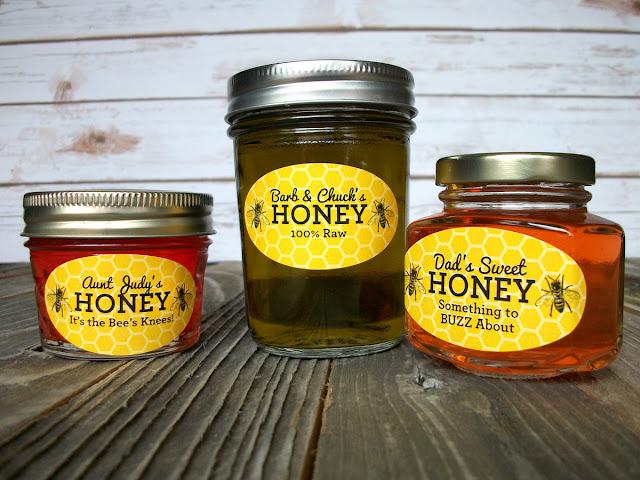 Custom Yellow Oval Honey Bee Jar Labels