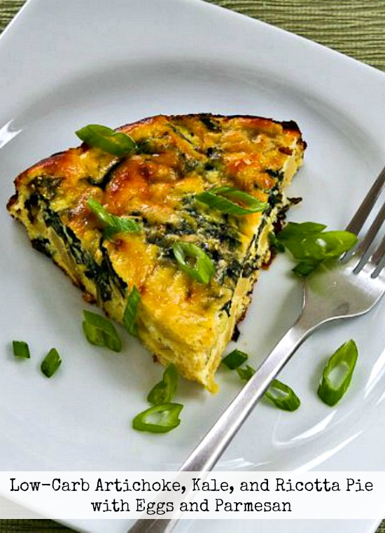 Low-Carb Artichoke, Kale, and Ricotta Pie with Eggs and Parmesan found on KalynsKitchen.com