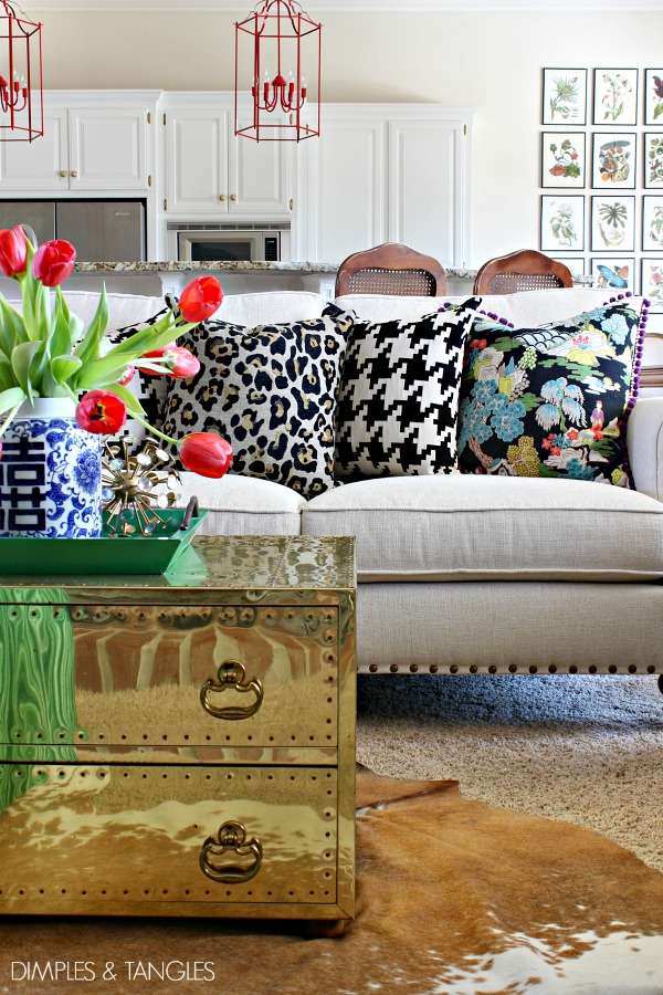 black and white, leopard, throw pillows, home styling, home decor, brass trunk