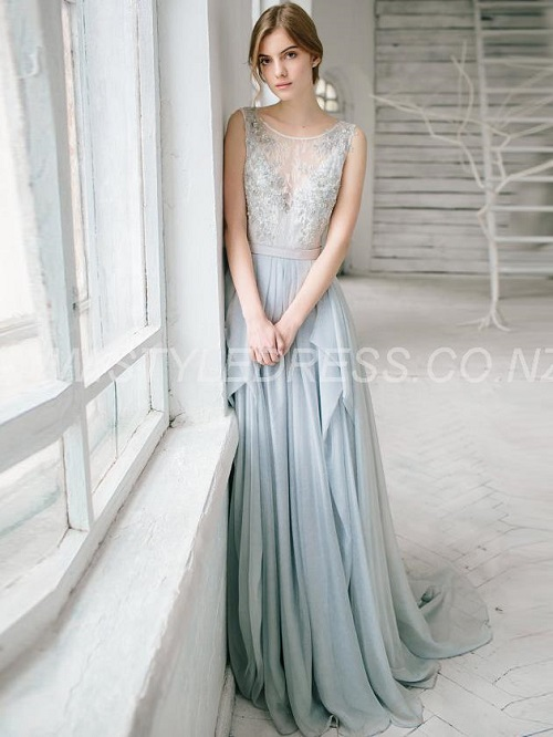 Backless Sleeveless Scoop A-line Floor-Length Evening Lace Gray Dress