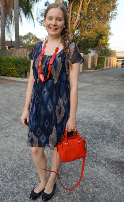 jeanswest ikat print empire waist navy dress with red accessories necklace and micro bag | away from blue