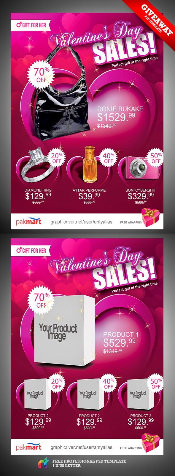 Valentine Day Sale Flyer Template