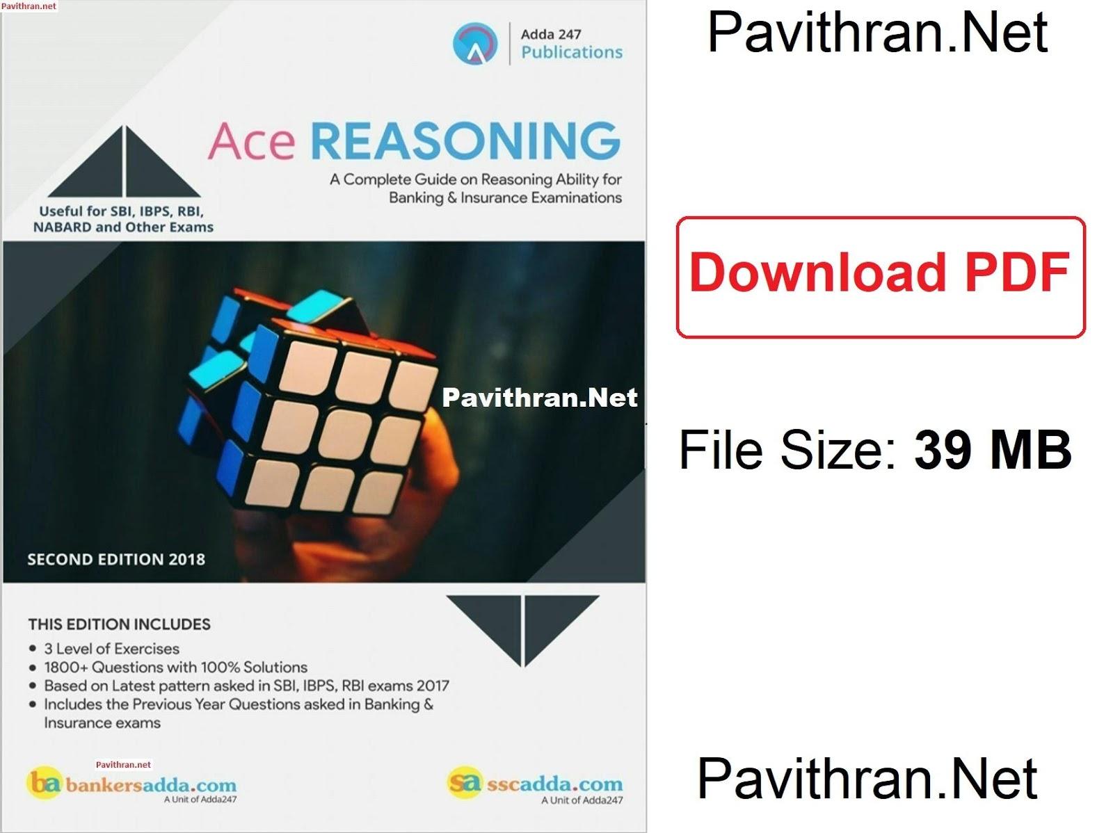 Ace Reasoning Book from Bankersadda pdf download