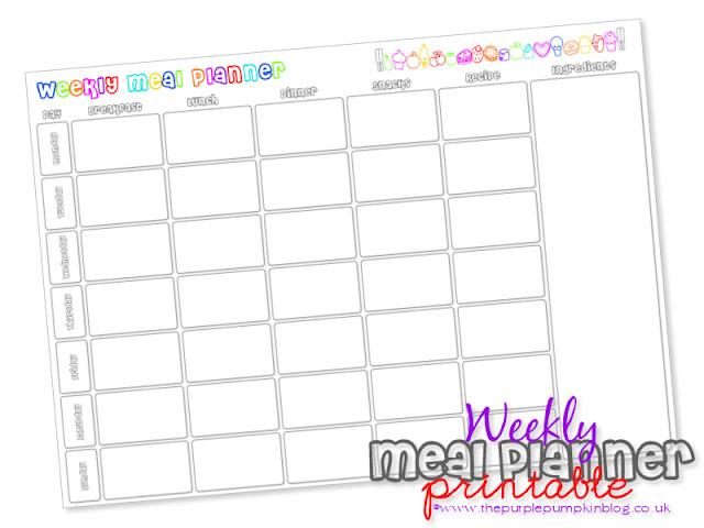 Weekly Meal Planner Free Printable at The Purple Pumpkin Blog