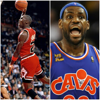 Basketball players LeBron James and Michael Jordan