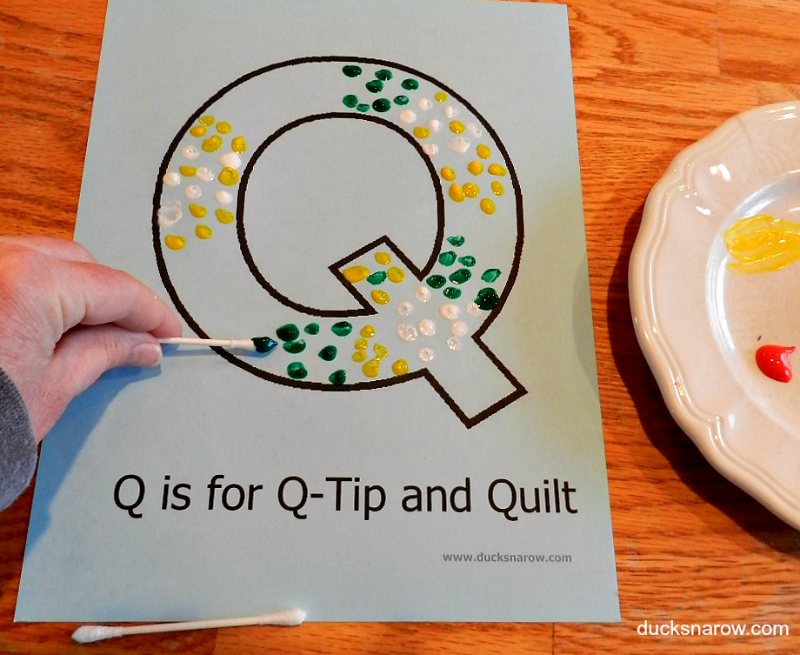 Baby Painting Craft >> Paint With Q-Tips - Letter Q Preschool Activity - Ducks 'n a Row
