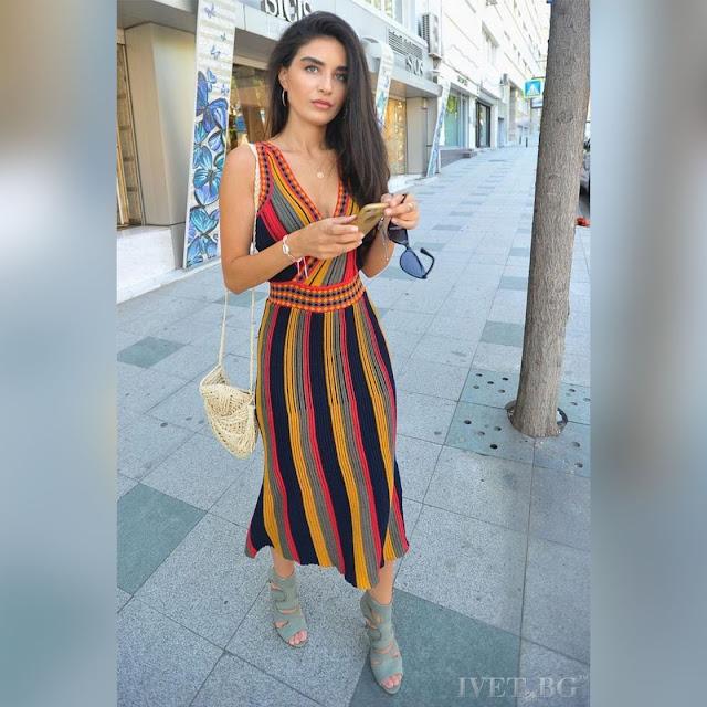 Μεσάτο μίντι χρωματιστό φόρεμα ANABELLA