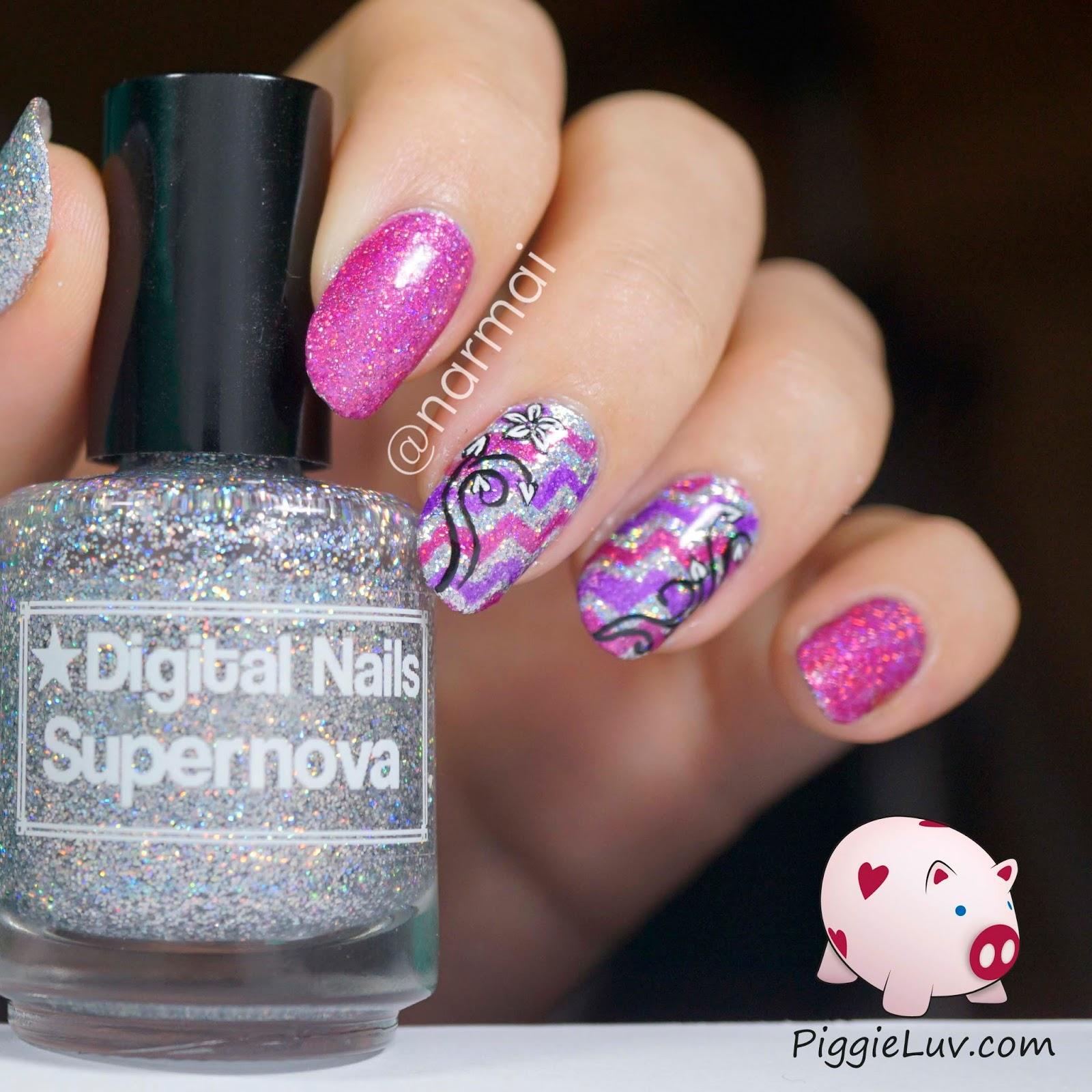 PiggieLuv: Sparkly chevrons & floral nail art