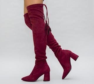 Cizme de iarna peste genunchi elegante din piele intoarsa grena cu toc