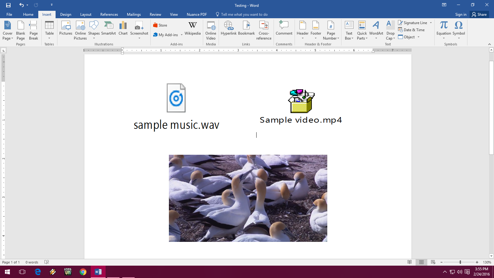 Learn New Things How To Insert Music Video In Ms Word Word 2003