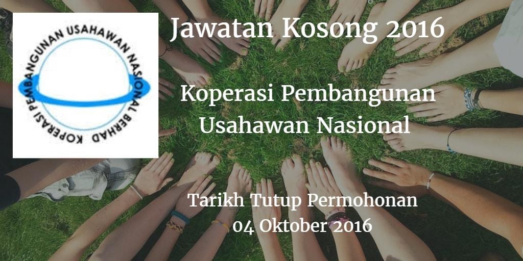 Jawatan Kosong Koperasi Pembangunan Usahawan Nasional 04 Oktober 2016