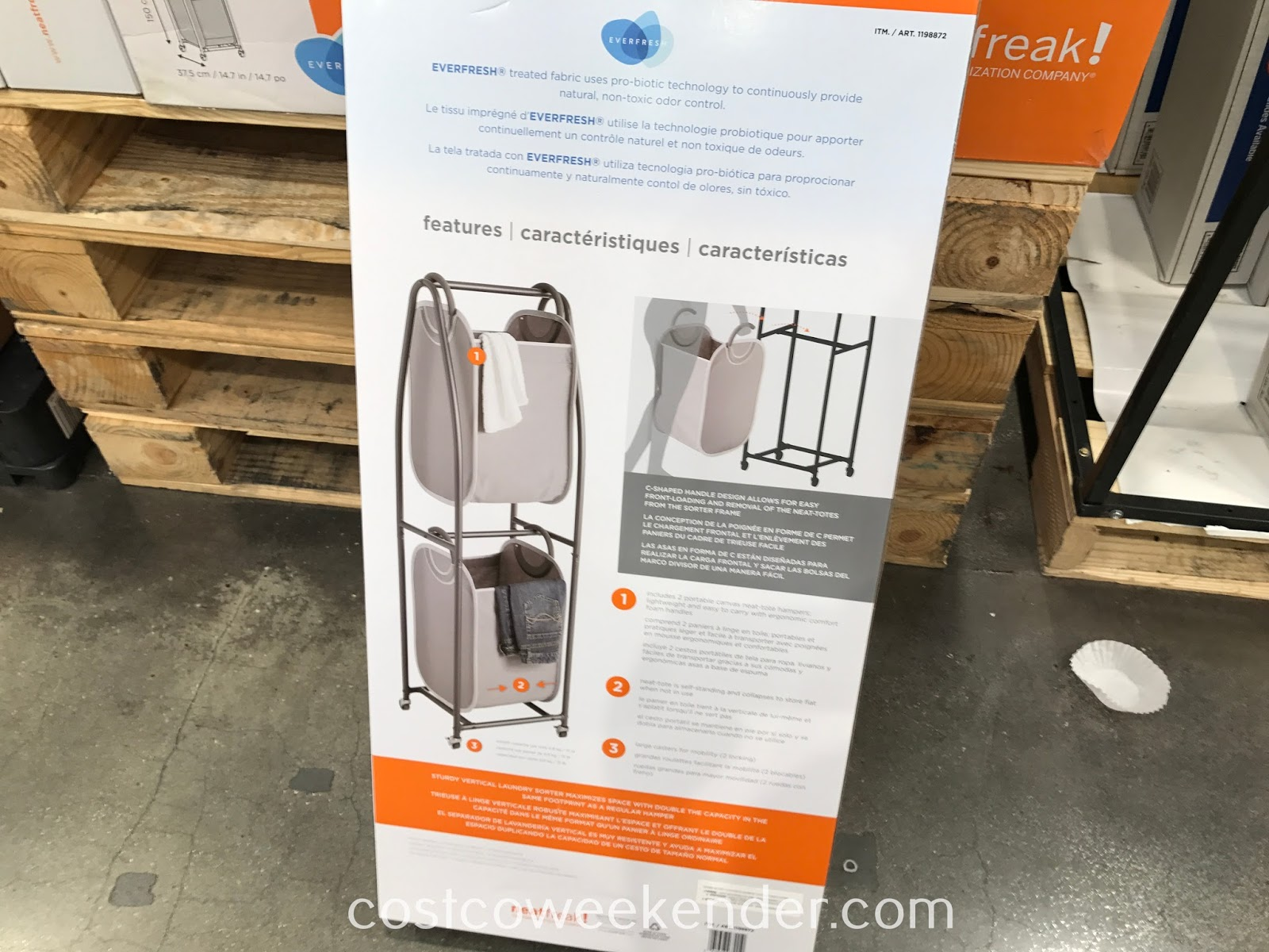 Costco 1198872 - NeatFreak Rolling Vertical Laundry Sorter: an easy storage solution for everyday problems and dirty clothes