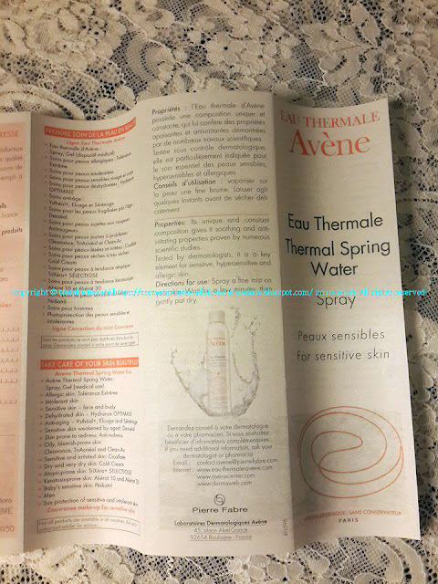 THERMAL SPRING WATER EAU THERMALE AVENE NATALIE BEAUTE BLOG POST