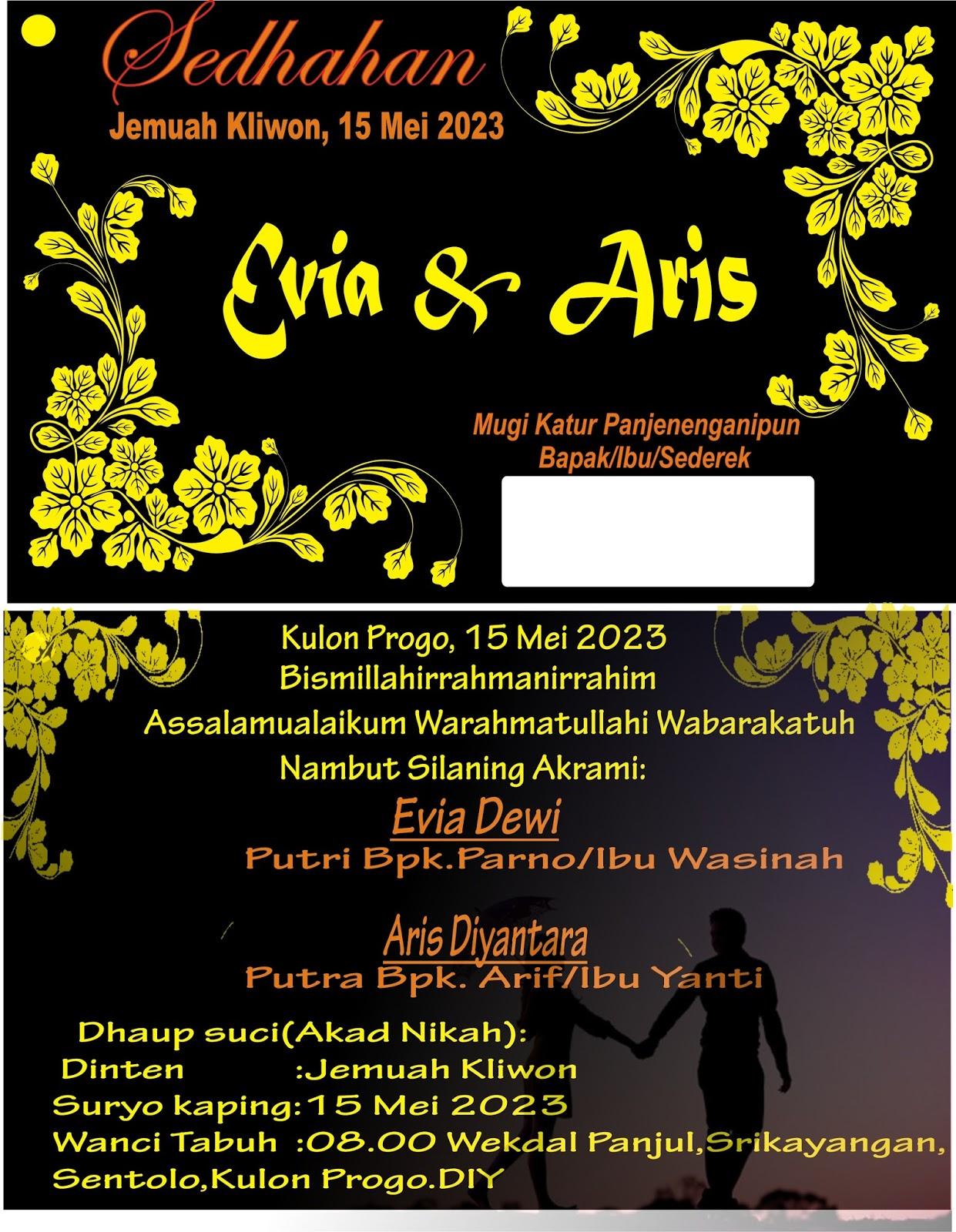 Contoh Undangan Pernikahan Dalam Bahasa Jawa Contoh Undangan Evia