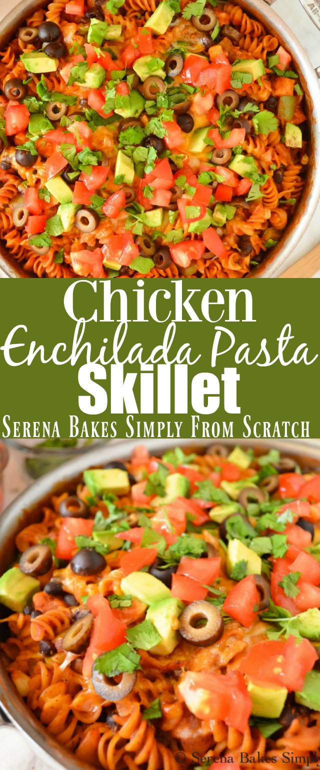 Chicken Enchilada Pasta is an easy one skillet dinner recipe using chicken breast perfect for a busy weeknight in under 30 minutes from Serena Bakes Simply From Scratch.