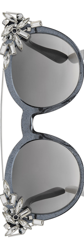 Jimmy Choo Vivy 20th Grey Round Framed Sunglasses with Detachable Jewel Clip On
