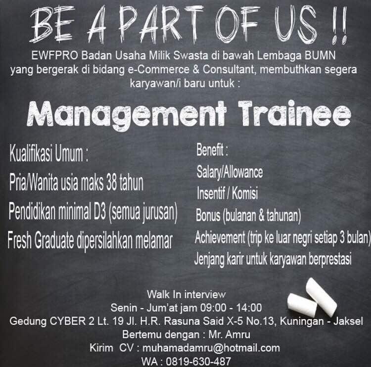 Lowongan Kerja Management Trainee D3 Fresh Graduate