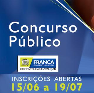 Prefeitura de Franca - SP divulga editais de Concursos Públicos