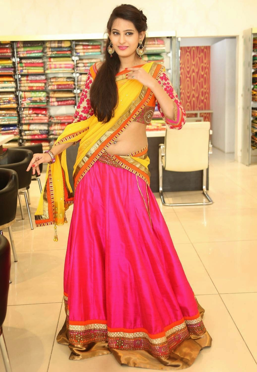 Actress Shweta Jadhav Navel Show In Yellow Half Saree