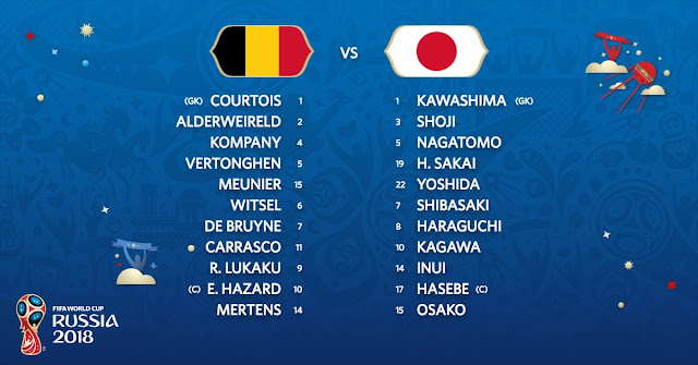 Starting Lineup: Belgium vs Japan - 2018 World Cup Quarter final