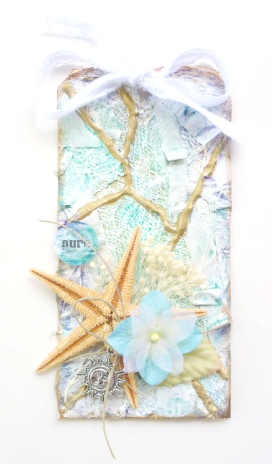 Mixed Media Beach Tag with Shells and Pearl Ex Watercolor Background