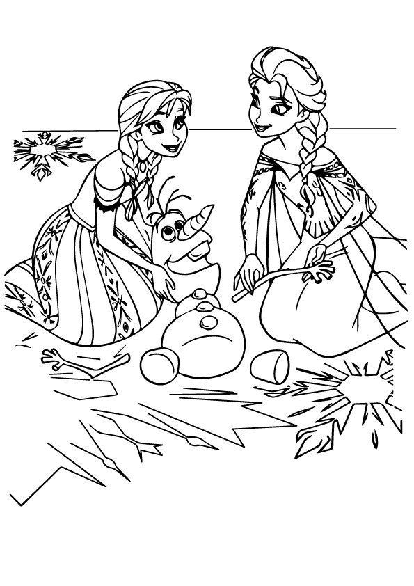 Click to see printable version of Anna And Elsa With Olaf Coloring page