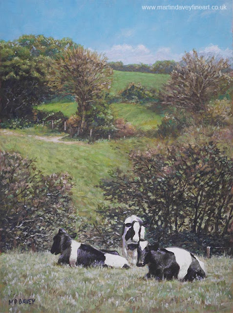 Martin Davey acrylic painting cows in New Forest