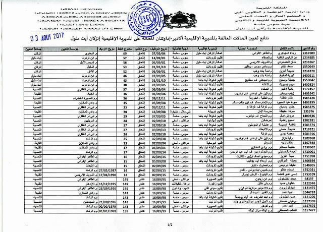 تعيينات العالقين في مديرية آكادير بمديرية إنزكان