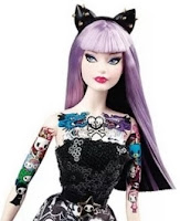 tokidoki lavender purple hair with black car ears tattos spikes