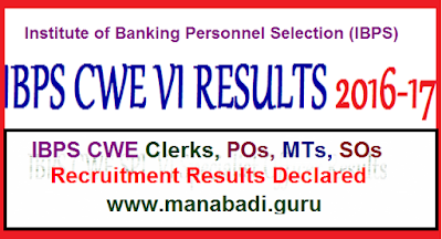 ibps cwe vi results,pos,mts,sos,results,cutoff,merit list,bank jobs