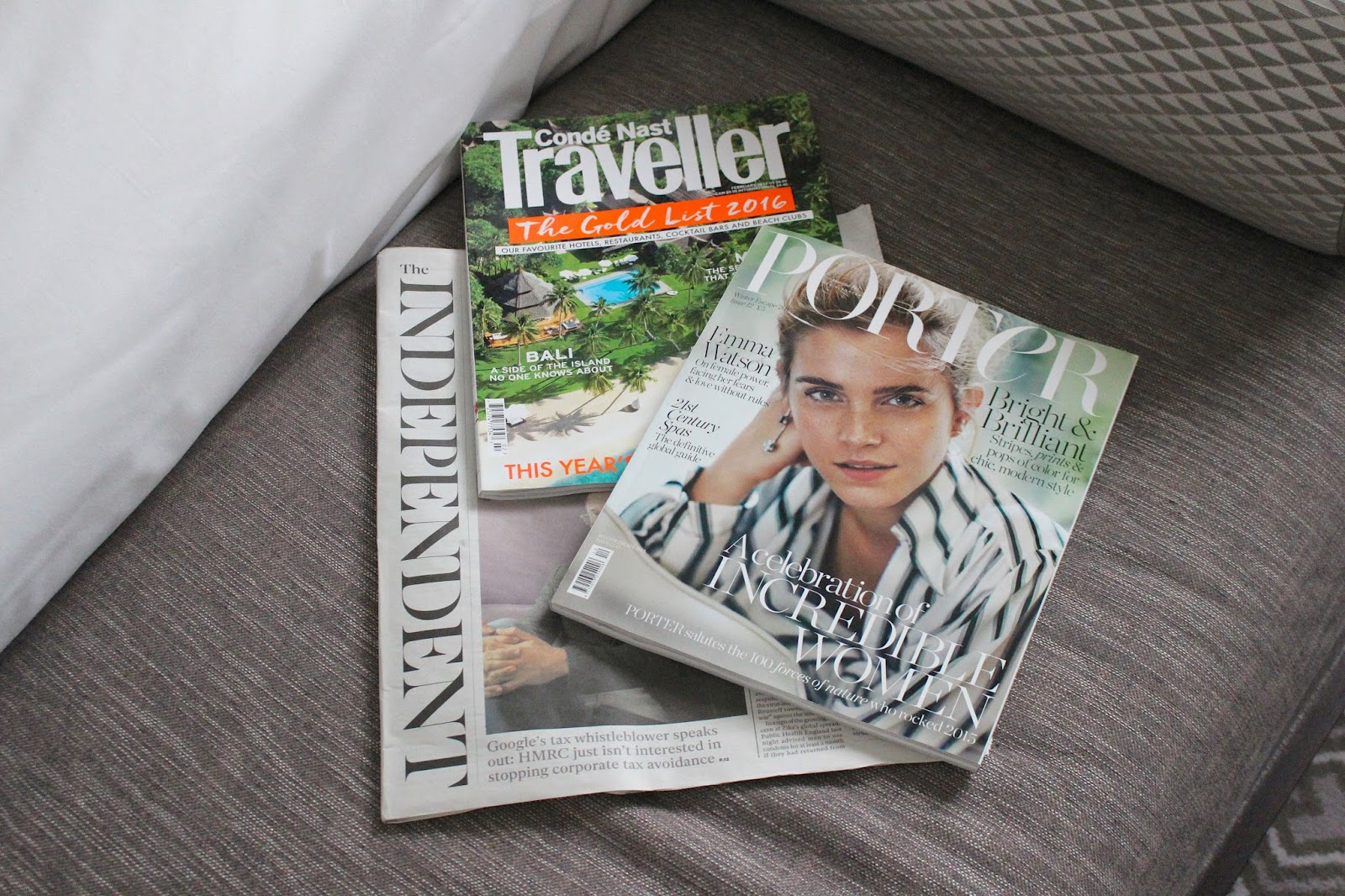 Magazines at luxury hotel