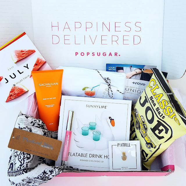 PopSugar sent me the July #musthavebox to try and it is so fabulous! I am most excited about the UV hair protector (full size!) because we are always at the pool and the brow highlighter. This box also came with a $20 gift card to Trove - I can't wait to find something new! Save $5 off your first box with code SHOP5.