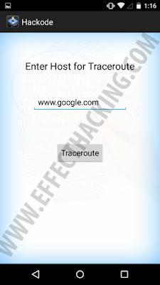 Hackode Traceroute tool snapshot