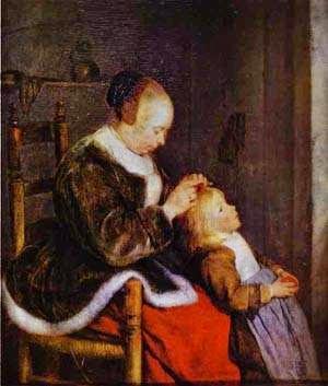 Cuidado Maternal - Gerard Terborch ~ Pintor Barroco ~ Holandês