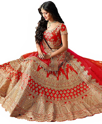 Women's Red Havy Taffeta Silk Lehenga Choli