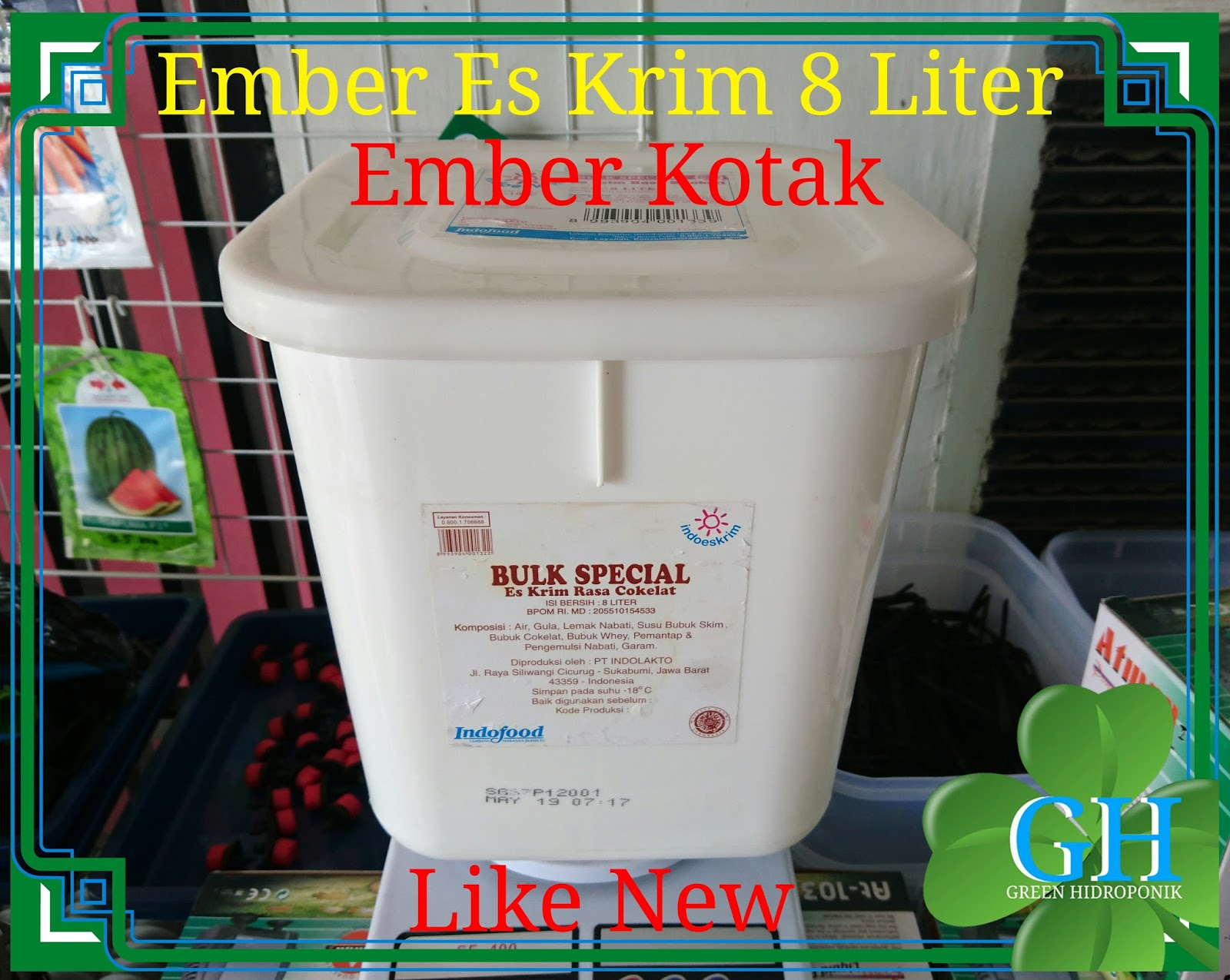 Ember Es Krim Kotak Ukuran 8 Liter Putih Like New Dbs Dutch Bucket 5 24