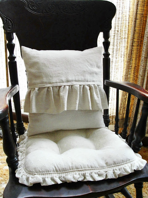 ruffle grain sack pillow